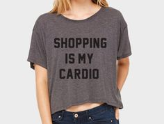 Shopping Is My Cardio Flowy Boxy Cropped Crew by HOUSEofKOLESON