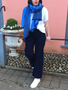 Store Manger Millie wears: Citizens Of Humanity ankle flares in navy cord & Eileen Fisher! #OOTD  www.collenandclare.com