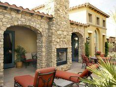 2 way stone fireplace