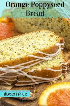 Gluten Free Orange Poppyseed Bread is a fun twist on an old favorite. A beautiful pound cake filled with tangy orange zest, sweet poppy seeds, and topped with a beautiful orange glaze. Best Gluten Free Desserts, Gluten Free Recipes For Breakfast, Gluten Free Breakfasts, Healthy Sweets, Healthy Eating, Cute Snacks, Orange Zest, Pound Cake, Poppy
