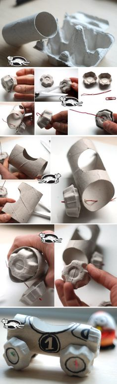 fabriquer une voiture avec boite oeuf Art For Kids, Crafts For Kids, Arts And Crafts, Diy Crafts, 3d Figures, Kids And Parenting, Paper Art, Activities For Kids, Recycling