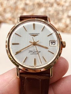 Longines Flagship second hand mens used automatic gold plated steel 1960 - 1969 watch Box Modern Watches, Vintage Watches, Watches For Men, Longines Watch Men, Time And Tide, Watch Box, Two Hands, Fashion Watches, Vintage Men