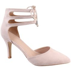 Jezzelle Nude Lace Up Heels ($58) ❤ liked on Polyvore featuring shoes, pumps, neutral, high heel stilettos, lace up stilettos, strappy pumps, nude pumps and high heel pumps