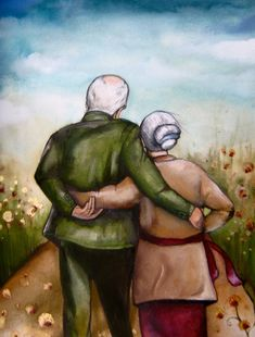 """Claudia Tremblay gift idea wedding anniversary """"our story"""" Vieux Couples, Old Couples, Happy Couples, Claudia Tremblay, Growing Old Together, Long Stories, Illustration, Parent Gifts, Alter"""