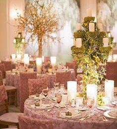 For an elegant woodland wedding, a moss-covered candelabra ~ Inside Weddings