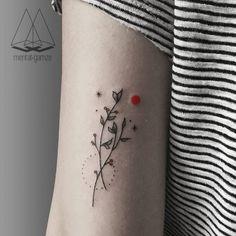 "cutelittletattoos: ""Minimalist branch couple on the back of the left arm. Tattoo artist: Mentat Gamze """