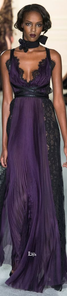Marchesa Fall Winter 2015-16 RTW, purple and black