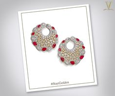 Stay graceful. #StayGolden  Enhance your graceful splendour with these delicate and exquisite ruby studded diamond earrings.