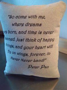 Peter Pan throw pillow handmade baby shower by SweetMeadowDesigns, $20.00
