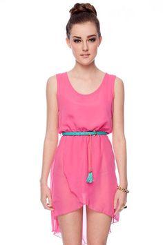 Belted Chiffon Hi-Low Dress  in Fuchsia $32 at www.tobi.com