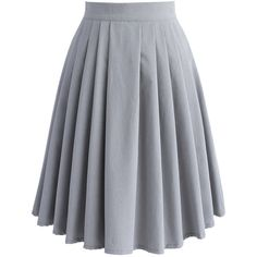 Chicwish Chic Basic Pleated Skirt in Grey (2.480 RUB) ❤ liked on Polyvore featuring skirts, grey, midi skirt, mid calf skirts, pleated skirt, grey skirt and button up skirt