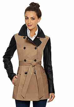 Jessica Simpson Faux-Leather-Sleeve Trench Coat on shopstyle.com