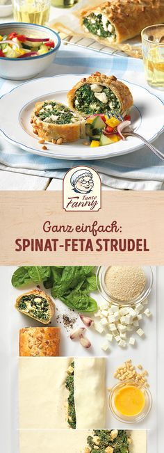 Our spinach feta strudel is a recipe that always works. We sprinkle the puff pastry before baking with pine nuts. The feta cheese is wonderfully soft. Strudel Recipes, Puff Pastry Recipes, Pizza Recipes, Puff Recipe, Frozen Spinach, Spinach And Feta, Spinach Puff Pastry, Sauce Pizza, Greek Cheese