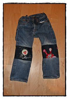 4a22b1cab0d8 verplüscht und zugenäht  Das Erdbeer - Monster Hosen verlängern Jeans  Flicken, Kinder Klamotten,
