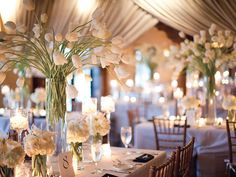 affordable wedding flowers can transform wedding day to an awe-inspiring one with a budget. Here are 15 flowers to get started and some useful tips to save money on wedding flowers. Tall Wedding Centerpieces, Wedding Flower Decorations, Reception Decorations, Wedding Flowers, Tulip Wedding, Tall Centerpiece, Centerpiece Ideas, Glass Centerpieces, Flowers Decoration