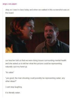 #Supernatural haha omg that is awesome .. Lucifer and Sam .. Jared Padalecki Mark Pellegrino