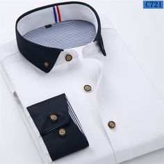 2015 New Solid Color Men's Business Casual Long Sleeved Shirts Men Classic Fashion Small Collar Dress Shirt Black White Shirt