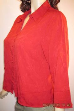Coldwater-Creek-Size-PL-Gorgeous-Red-Rayon-Blend-Button-Front-Blouse