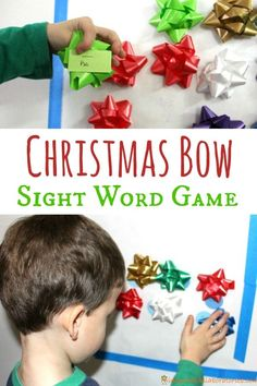 Christmas Bow Sight Word Activity - Use leftover Christmas bows for a fun reading game! Sight Word Practice, Sight Word Games, Sight Word Activities, Kindergarten Activities, Sight Words, Speech Activities, Preschool Learning, Christmas Bows, Christmas Themes