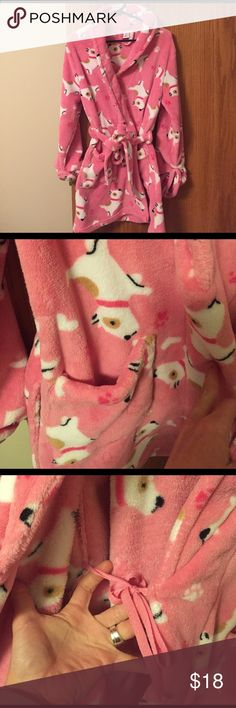 Pink Puppy Robe Fluffy, snuggly, pink puppy robe. Very little wear, my daughter just outgrew it. Size small. No flaws. Still very plush. Cuffed long sleeves are tacked down to prevent unrolling. Two front pockets. Waist tie belt loops both in tact. Shorter length--thigh or knee length depending on your height. croft & barrow Intimates & Sleepwear Robes