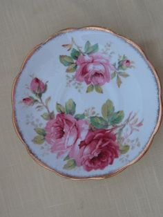 ROYAL ALBERT, American Beauty, large pink roses, bone china, cup saucer, Made in England White background with large pale pink roses and