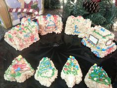 Rice krispie treat christmas train and trees.  Much easier than a gingerbread house when you have small children.
