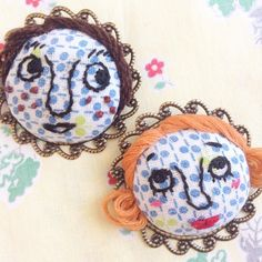 """No.003 & 004 """"What shall we do tomorrow?"""" """"I want to eat an ice cream!"""" #handmade #handicraft #craft #embroidery #brooch #face"""