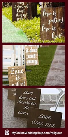 These rustic wedding aisle decorations are another different wedding idea. They have Corinthians script printed on them, the love is patient bible verse. Learn more about each or buy in the My Online Wedding Help products section. Florida Gators, Farm Wedding, Wedding Signs, Dream Wedding, Different Wedding Ideas, Country Wedding Inspiration, Aisle Markers, Wedding Aisle Decorations, Rustic Theme