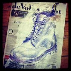 Giant Shoe - Doc Marten - DMs - white paint and ballpoint pen on newspaper #PenArt
