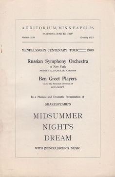 Midsummer Night's Dream 1909 Theater Program Minneapolis MN Ben Greet Players