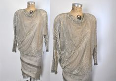 Metallic Crochet Knit Dress / 1980s does 1920s / S-M by badbabyvintage on Etsy