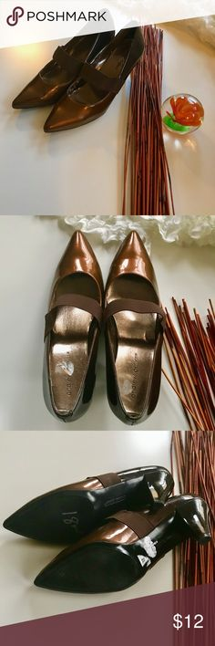 ANDREW GELLER Patten leather pumps Patten leather ombre bronze pumps with elastic band detail. Work appropriate.  Can be dressed up or down. Great condition.  - size 9 1/2M - 3 inch heel Andrew Geller Shoes Heels