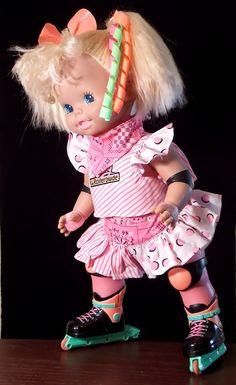 "Baby Rollerblade Doll Mattel 1991 Works - Watch Video Blond Hair Skating Girl 15"""