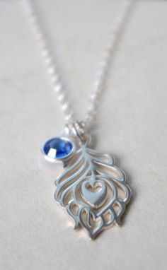 Sterling Silver Peacock Necklace Feather with that gem of pure blue by SarahofSweden