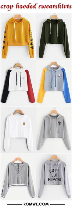 crop hooded sweatshirts 2017 - romwe.com