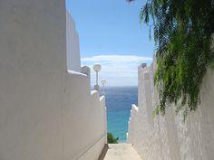 White alleys in Morro Jable, Fuerteventura, Spain.