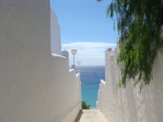 White alleys in Morro Jable, Fuerteventura, Spain.