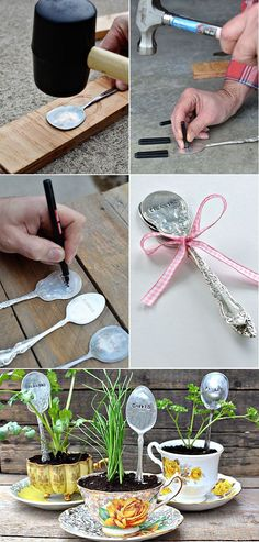Plant Markers For Your Springtime Garden DIY Teacup Planters with Stamped Spoons - 16 Hyper-Creative Ways to Repurpose A Vintage Teacup Garden Crafts, Garden Projects, Diy Crafts, Garden Ideas, Easy Garden, Diy Projects, Stamped Spoons, Hand Stamped, Plant Labels