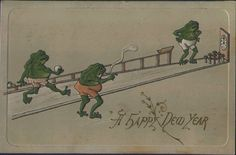 Neat Vintage New Year Post Cards - A Gallery.  Cute frogs bowling into mushrooms.