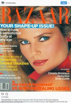 Christy Brinkley first Harper's Bazaar cover Fashion Magazine Cover, Fashion Cover, Magazine Covers, Vogue Magazine, Air Makeup, Makeup Ads, Mademoiselle Magazine, Kelly Emberg, Original Supermodels