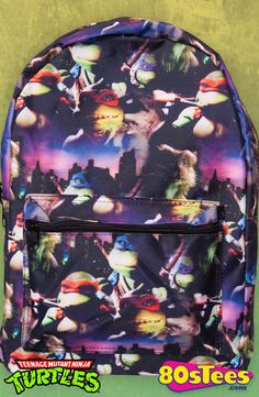 "Teenage Mutant Ninja Turtles Backpack: TMNT Backpack Kids and parents love the design of this popular backpack featuring the ""Turtles"" in action with colorful art and illustration."