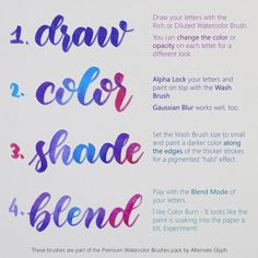 Watercolor Calligraphy Brushes for Procreate - DIY - Do it yourself - selbstgemacht - handmade - Watercolor Creative Lettering, Brush Lettering, Lettering Styles, Lettering For Beginners, Calligraphy For Beginners, Adobe Illustrator, Pencil For Ipad, Journaling, Photoshop