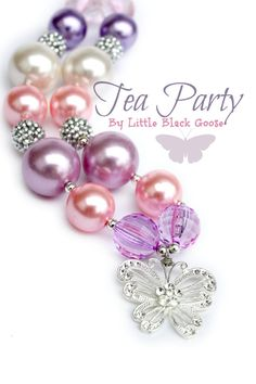 Tea Party Pearl Beaded Pink Purple White and by LittleBlackGoose,