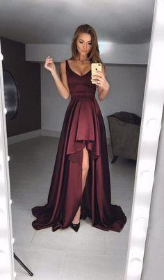 bdcac113a3e1 Sexy A-Line Deep V Neck Burgundy Satin High-Low Prom Dresses,Charming Formal  Evening Dresses DG0918004