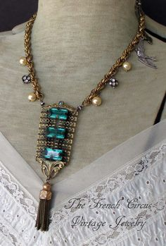ENVY vintage assemblage necklace with green by TheFrenchCircus