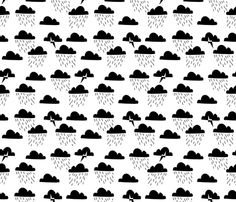 Storm // black and white clouds rain lightning bolts minimal modern fabric by andrea_lauren on Spoonflower - custom fabric
