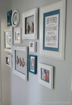 Cute gallery wall that includes the thermostat so it doesn't draw attention - LOVE the frame with wire across and snapshots hanging from little clips! would work for kids artwork too. or cards. Would be great for our thermostat wall!