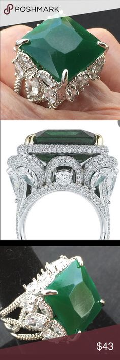 ⭐️⭐️Joy-Emerald Princess Cut 925ss Natural Gemstone 4.8ct Amazing Princess Silver Cut Green Emerald. Lots of Bling- you will get noticed with this ring. It Pops!!!💋 Jewelry Rings