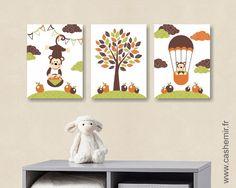 Lot de 3 illustrations pour chambre d\'enfant et bébé garçon bleu ...