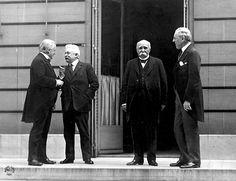 Council of Four at the WWI Paris peace conference, May 27, 1919 (candid photo) (L - R) Prime Minister David Lloyd George (Great Britian) Premier Vittorio Orlando, Italy, French Premier Georges Clemenceau, President Woodrow Wilson